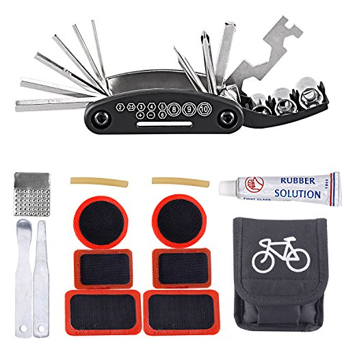 Fahrrad-Multitool, iBuger 16 in 1 Multifunktionswerkzeug Fahrradwerkzeug Mechaniker Reparatur Tool Kit Fahrrad Reparatur Set Multifunktions Werkzeug 16 in 1 attrezzo con piccola borsa