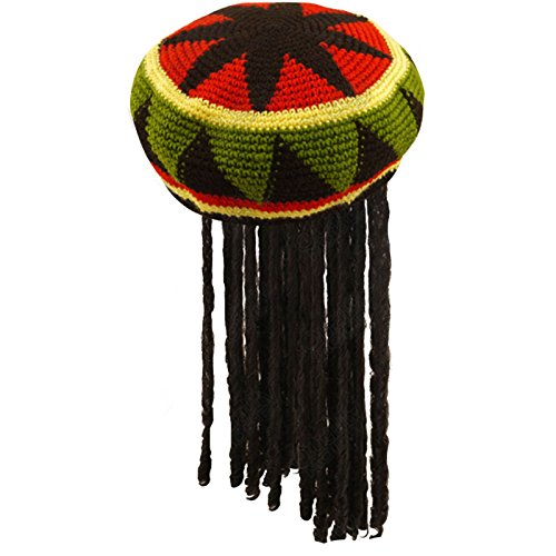 Fancy Dress Adults Knitted Rastafarian Jamaican Rasta Beanie Hat & Dreadlocks Hair (Jamaika Mann Kostüm)