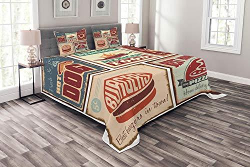 ABAKUHAUS Retro Tagesdecke Set, Retro mexikanische Blechschild, Set mit Kissenbezügen Kein verblassen, für Doppelbetten 220 x 220 cm, Mehrfarbig