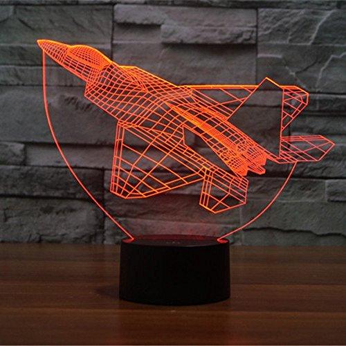 Lampe 3D ILLUSION Lichter der Nacht, kingcoo 7Farben LED Acryl Licht 3D Creative Berührungsschalter Stereo Visual Atmosphäre Schreibtischlampe Tisch-, Geschenk für Weihnachten, Kunststoff, Avion 0.50 wattsW - 4