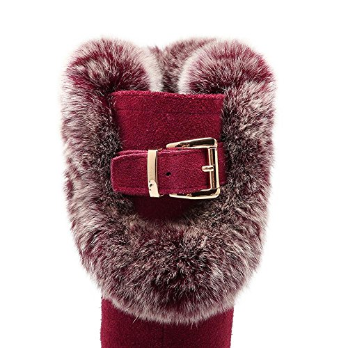 Donna Martin Stivali WSXY5123 Scarpe da Neve con Fibbia Invernale,KJJDE red