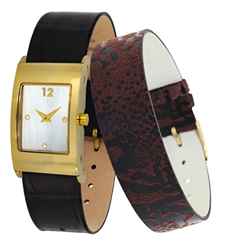 Moog Paris Dome Women's Watch with White Mother of Pearl Dial, Black Genuine Leather Strap & Swarovski Elements - M41662-404