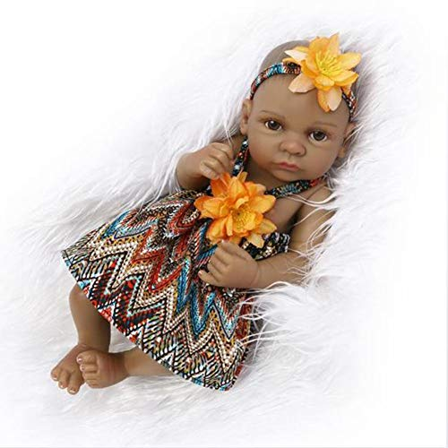 FEIFEIJ Full Vinyl Silicone Body Real Touch Baby Lifelike Reborn Dolls Realistic Neuborn Baby Doll Black Ethnic Sleeping Girl Native Indian Style,Girl
