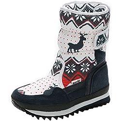 POLP Botas de Nieve Cálidos Mujer Niñas Botas de algodón Cálidas Botas Plataforma con Hebilla Zapatos de algodón Botas Mujer Planas Invierno