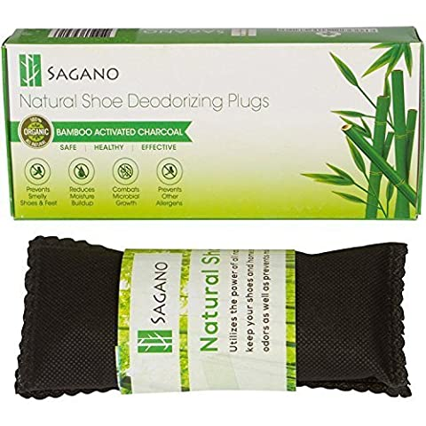 Best Activated Charcoal Shoe Deodoriser By Sagano - 2x 77gram - Natural Activated Charcoal Odour Absorbers - Stop Stinky Feet and Smelly Socks - Prevents Mold and Bacteria - Smoke Smell Remover