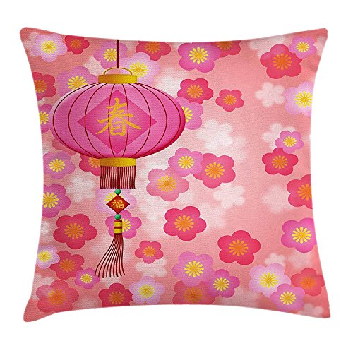 Lantern Throw Pillow Cushion Cover, Chinese New Year Theme Cherry Blossom Auspicious Festive Celebration Print, Decorative Square Accent Pillow Case, 18 X 18 Inches, Light Pink Yellow (New Years Theme)