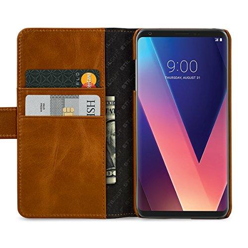 StilGut Talis Schutz-Hülle für LG V30 und LG V35 ThinQ mit Kreditkarten-Fächern aus echtem Leder, Cognac