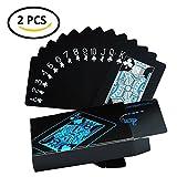 HighCool Juego de cartas, Plástico Jugando a las Cartas de Póquer Impermeable en PVC para Juegos de Magia - Negro (2 Pack)