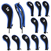 IGNPION Golf Iron Head Cover Club Heads Protector Wedge Headcovers Long Neck with Zip for Titleist, Callaway, Ping, Taylormade, Cobra, Nike (Black+Blue)