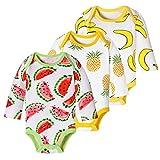 Dooxi Unisex Baby Junge Mädchen Langarm Strampler Overall Gedruckt Spielanzug Bodysuit Baby Geschenkset Banane+Ananas+Wassermelone 3