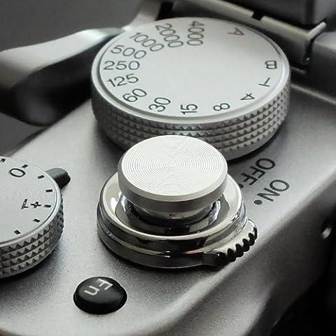 Soft Déclencheur en aluminium en argent (plat, rainuré, 10mm) pour Leica M-Serie, Fuji X100, X100S, X100T, X10, X20, X30, X-Pro1, X-Pro2, X-E1, X-E2, X-E2S et tous les appareils photos avec la bouche filetage conique