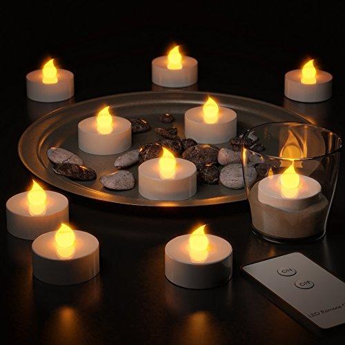 Set 10 velas LED de plástico con Mando a Distancia - Dimensiones: diámetro 3,8 cm; Altura 3.7 cm - Color: Blanco/Plata
