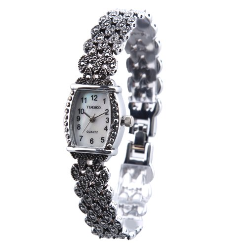 Time100 Orologio donna acciaio argento gioielli decorativi, realizzato a mano#W50242L.01A - Pulsante Politico Vintage