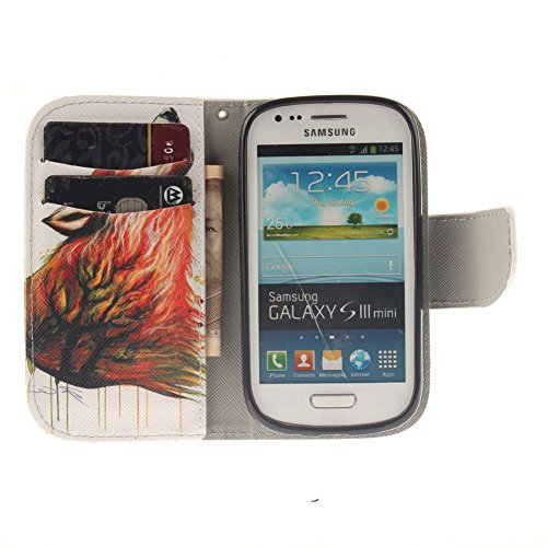Samsung Galaxy S3 Mini i8190 Hülle,MCHSHOP PU Leder Cover Tasche Soft Case Schutz Hülle Handyhülle Bunt Painted Silikon Back Cover Bumper Schutz Hard Etui Schale Schutzhüllen mit Stand Magnetverschlus Bunte Howl Wolf