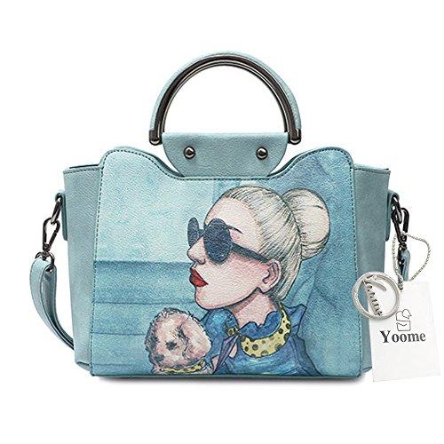 Yoome Stampa Borse alla moda per le donne Borsa a manico superiore Vegan Leather New Chic Bags Crossbody - Blu Blu