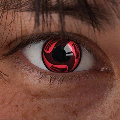 """Sharingan Kontaktlinse """"Sharingan Uchiha Turn"""" by aricona – Deckende, farbige Jahreslinsen für dunkle und helle Augenfarben ohne Stärke, Farblinsen für Cosplay, Karneval, Fasching, Motto-Partys und Halloween Kostüme"""