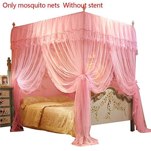 Samber 150* 200mm 4Poster Ecken Betthimmel Prinzessin Queen Mosquito Betten Net Bett Zelt Bodenlang Vorhang rose - 4 Poster Queen-bett