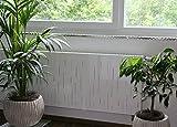 Heizkörperverkleidung , 62 x 60 cm Design: Rain, (SET=2 Stück) weiß (Marke: Szagato) (Heizkörperabdeckung Abdeckung für Heizkörper Heizungsverkleidung)