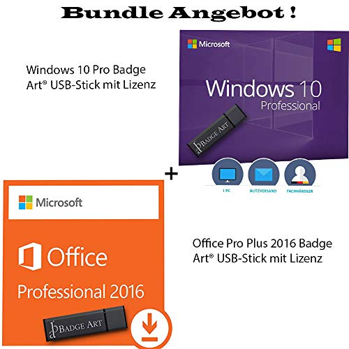 Windows 10 Professional + Microsoft Office Professional Plus 2016 Originale Lizenzen inkl Badge Art® USB-Sticks