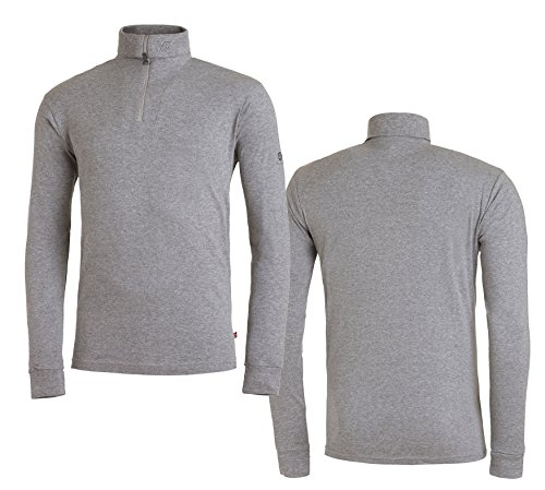Medico Herren Ski Shirt, 100%Baumwolle, langarm, Rollkragen, Reißverschluss light grey melange