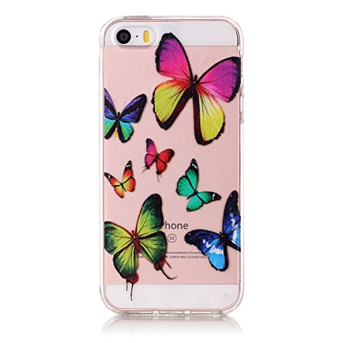 iPhone SE Hülle,iPhone 5S Case,iPhone 5 Silikon Cover Felfy Ultra Dünne Slim Full Body Soft Gel TPU Silikone Case Lichtdurchlässig Transparent mit Schöne Bunte Muster Malerei Design Case Rückschale Sc Farbe Schmetterling Hülle