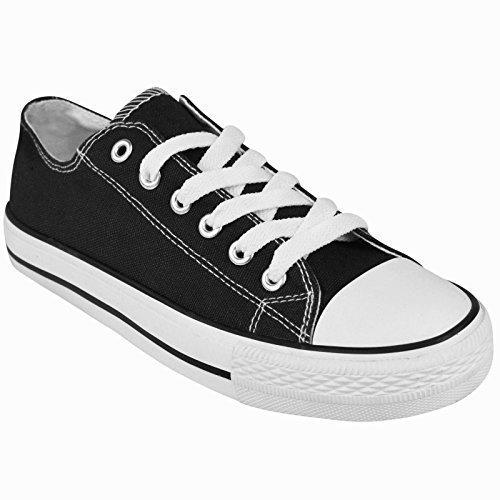 ladies-womens-canvas-lace-up-plimsoll-flat-gym-shoes-sneakers-trainer-pumps-size-uk-7-eu-40-us-9-bla