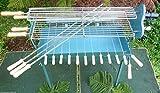 Chipre FOUKOU SPECIAL tradicional Barbacoa parrilla de carbón grande asador y sábana ajustable parrilla acero inoxidable 86X 28cm y parrilla de peces Rottisserie SST 67X 12cm y Motor adaptador AC/DC, nuevo