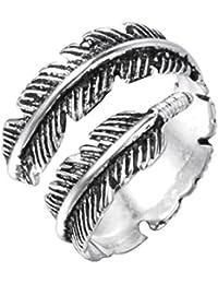 Anillo doble en diseño vintage de plumas, para mujeres u hombres, de plata de