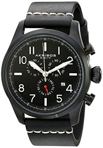Akribos XXIV Men's AK705BK Ultimate Swiss Chronograph Black Leather Strap Watch