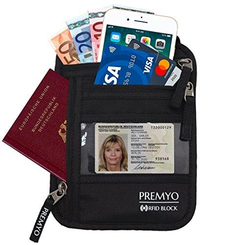 PREMYO Flacher Brustbeutel Brusttasche Schwarz RFID Blocker Damen Herren Unisex Reise-Geldbeutel zum Umhängen für Reisepass Handy Sicherheits-Hals-Geldbörse mit Geheimfach enganliegend - Rfid-reise-geldbörse Hals
