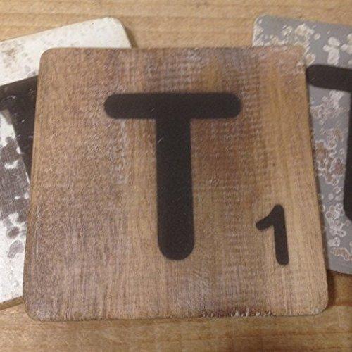 Holzbuchstaben, Deko Buchstaben aus Holz, im Scrabble-Look quadratisch Größe ca. 10 cm x 10 cm, Shabby Chic, Balsa Holz, Buchstabe T