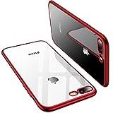 Coque iPhone 8 Plus, Coque iPhone 7 Plus, TORRAS Transparent Ultra fine Silicone Housse Étui de Protection en Doux TPU Bumper Cadre Brillant Plaqué et Clair back Case pour iPhone 8 Plus/7 Plus - Rouge