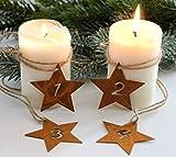 LB H&F 4er Set Adventskranz Zahlen Deko Advent Rost Stern Metall Weihnachten KERZENANHÄNGER zum selber dekorieren in Sternform - (Adventskerzen - Rost)