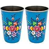 The Crazy Me Handpainted Blue Flower Pattern Tumbler (Large) (SET OF 2)