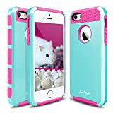 iPhone 5S Case, iPhone SE Case, Hinpia [Seaplays] Hybrid 2 in 1 Dual Layer Shockproof iPhone 5 Case Heavy Duty Hard PC + Soft TPU Protective Cover for Apple iPhone 5S / iPhone SE (Mint/Magenta)