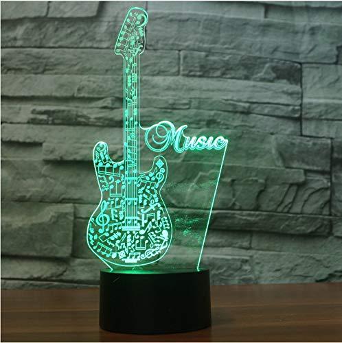 Optische Täuschungslampe Glow LED Nachtlicht Creative Guitar Inspiration 7 Farben Optische Täuschungslampe Touch Sensor Perfekt für Home Party 3D -