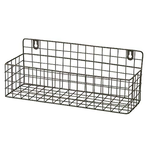 Time Concept Rustikales Eisenregal - Blumenpflanzen-Aufbewahrung, Café, Garten, Heimdekoration Rustic Iron Rack - Short Wire Tray Basket (Bad-magazin-wand Rack)
