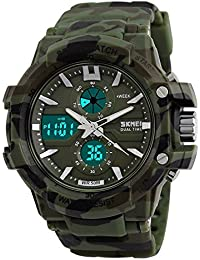 Fashion Now Analogue Digital Round Green Dial Military Print Men's Sports Watch(0990_Army)