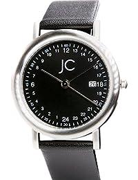 Jean Constantine – Reloj de pulsera de hombre de mujer unisex indicador de fecha, cristal mineral Real de piel Reloj de pulsera 24h, 5 ATM Color: Negro, 36 mm
