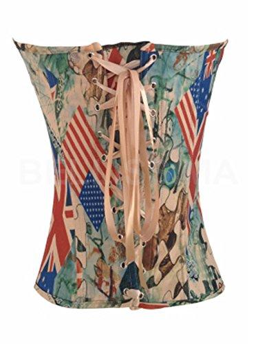 ABILIO - bustino multicolore corpino corsetto top sexy bustier corpetto stringivita Verde