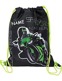"""Sportbeutel - Turnbeutel - Schuhbeutel __ """" Motorrad Kawasaki ZX-10R - Ninja """" - wasserfest / wasserabweisend & abwischbar - für Kinder - Schulbeutel Kindergarten - Jungen / Sporttasche - Kindergarten Schule - Schwimmbeutel & Schwimmtasche / Sportsack - Kraftrad Auto - Wäschebeutel Beutel - Kulturbeutel - Rennrad Biker Bike / Motorräder - Motocross"""