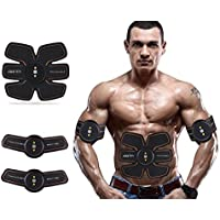ABS entrenamiento muscular tóner cinturón EMS muscular stimulato muscular Fitness, carga USB Smart Home aparato de fitness unisex apoyo para hombres & mujeres,Negro