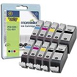 10 Cartouches d'encre Compatibles pour Imprimante Canon Pixma MP620 - Cyan / Jaune / Magenta / Noir- Avec Puce