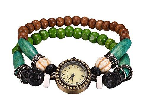 Frauen mehrschichtige Webart Quarzarmbanduhr Lederarmband Uhr Wrap Link (Wrap Formale)