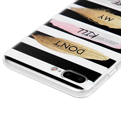 Badalink iphone 7 plus Crystal Case Hülle für iphone 7 plus Schutzhülle aus PC Kunststoff mit Meng Katze Kätzchen Design Cover klar in Bunte Transparent HardCase Tasche Don't Kill My VIBE Streifen