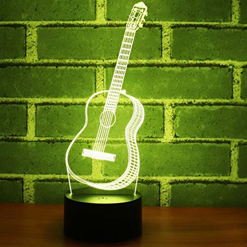 chts 7 Farben Ändern Notensteuerung Usb-Schlafzimmer Dekorative Tischlampe Geburtstagsgeschenk Musik Gitarre ()
