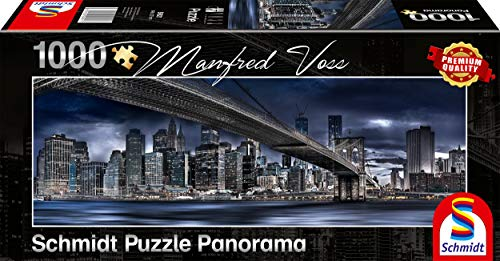 Schmidt Spiele Puzzle 59621 Manfred Voss, New York, Dark Night, 1000 Teile Panorama-Puzzle, bunt