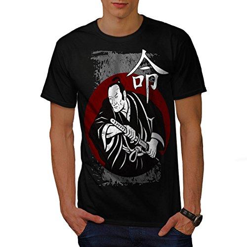 wellcoda heftig Samurai Aussehen Männer T-Shirt, Kimono Grafikdesign gedruckt Tee (Samurai-schwert Professionelle)