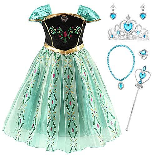 Monissy Mädchen Prinzessin Anna Kleid Karneval Kleidung Verkleidung Party Kleid Cosplay Kostüm Set mit Zubehör Party Kostüme für Mädchen Weihnachten Fasching Halloween Gr.100-150 (Sweetheart Prinzessin Kind Kostüm)