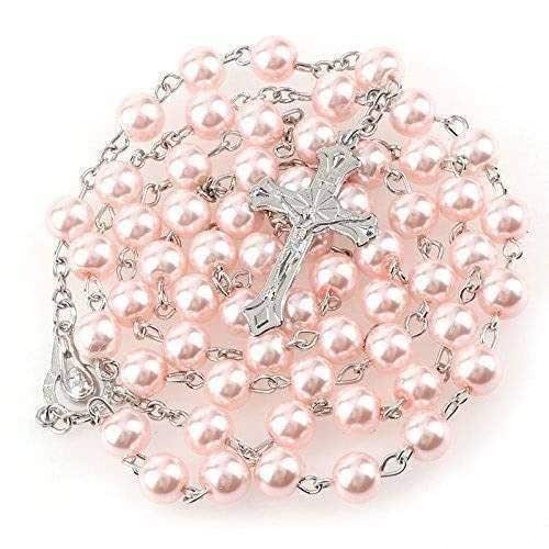 Rosario di gioielli di perle rosa 56 cm